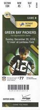 2014 NFL DETROIT LIONS @ GREEN BAY PACKERS  FULL UNUSED FOOTBALL TICKET