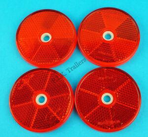 4 x RED 60mm Hi-Viz Reflectors for Driveway Gate Fence Posts & Trailer Horse Box