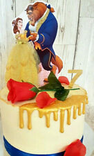 Beauty & The Beast Cake Topper Hand Made, Disney 6.5 inches Glitter & Gems 💖