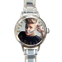 NEW Girls Justin Bieber Watch Italian Charm Watch Bracelet Analog Quartz Battery