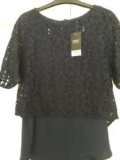 Next Navy Layered Lace Top Size 12 Bnwt