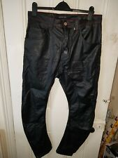Redhouse 34W 30L Black faux Leather Biker Trousers Jeans Fitted Gay Fetish