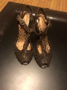 Seychelles Brown Braided Heels Sz 8.5