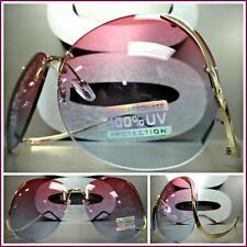 OVERSIZE VINTAGE RETRO Style SUN GLASSES Upside Down Gold Frame Pink & Blue Lens