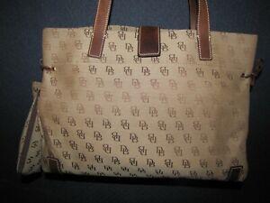 Dooney & Bourke Brown Canvas & Leather Logo Med/Lg Tote Handbag