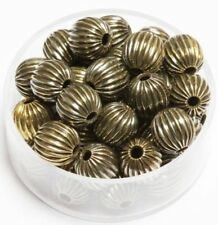 8 MM Vintage Brass Corrugated Round  Beads Pkg Of 100