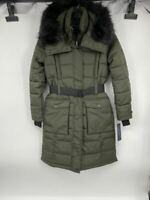 New French Connection womens Faux fur jacket puffer Sz S military green Q748
