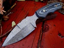 Full Tang Raindrop Pattern Damascus Steel Leaf Blade Hunting Camping Knife A 45