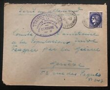 1941 France Concentration Internment Camp de Gurs prisoner Cover to RedCross Swi