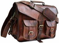 Vintage Goat Leather Messenger Real Satchel Genuine Laptop Brown Briefcase Bag