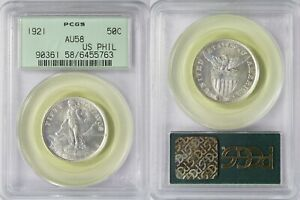 1921-(M) US/Philippines 50 Centavos ~ PCGS AU58 OGH ~ Silver ~ A#14.10 ~ RH44