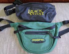 x2 Vintage Fanny Packs Stansport Green AND Black Velvet Waist Packs  Hip Pouch