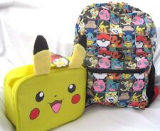 "Pokemon Pikachu Multi Character Checkered 16"" Backpack+Pickachu Ears Lunchbox"