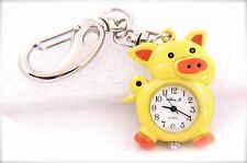 Lovely Pig KEYCHAIN Yellow Color with White Dial Number QUARTZ WATCH