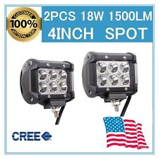 Pair 4INCH 18W CREE LED WORK LIGHT BAR SPOT DRIVING OFFROAD UTE REVERSING LAMP