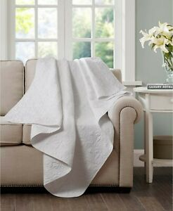 """Madison Park Quebec Oversized Quilted 60"""" x 70"""" Throw - White"""