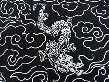 Japanese Kimono Nihon Tenugui Towel DRAGN CLOUD BLACK