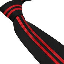 Coachella Ties Black with Red Vertical Stripe Woven Necktie Microfiber Neck Tie
