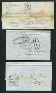 AP631) Brazil Uruquay 3x folded covers 1862-1865 stampless oppertunity