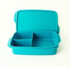 TUPPERWARE Brotdose Lunchbox Clevere Pause 1L Türkis mit 3-fach Einteilung
