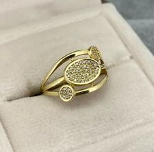 9ct Yellow Gold Cubic Zirconia Cluster Circle Bubble Ring Size Q UK Hallmarked