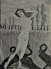Max KLINGER (1857-1920) Holzschnitt 1912 - NACKTE mit schwarzen Schwänen - Leda