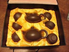 Yixing tea set brown clay boxed 8 piece never used Chinese original box