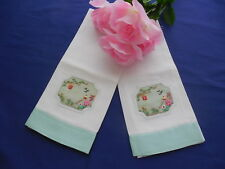 2 Vintage Guest Towels with Embroidered Organdy Inserts