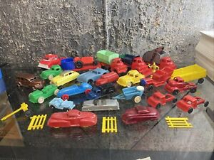 Renwal, Acme, Banner, Marx, Ideal Plastic Toy Cars, Trucks Lot 24 Pieces