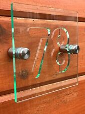 MODERN HOUSE SIGN / PLAQUE / DOOR / NUMBER / GLASS EFFECT ACRYLIC  numbers 1-99