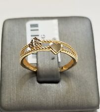 ring diamond cut ,size 6 14k two tone double heart