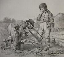 J. E. MARCUS `ZWEI JUNGS MACHEN FEUERHOLZ; TWO BOYS CUTTING FIREWOOD` 1812