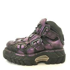 New Rock Botas Zapatos EU 39 UK 6 Grueso Plataforma metálico morado Gótico 182031