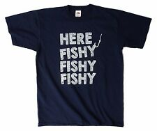 Here Fishy Fishy Fishy funny mens fishing hobby t shirt