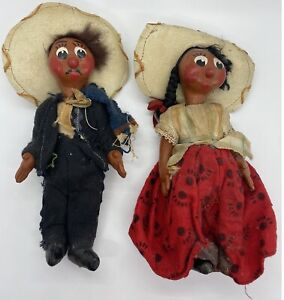Vintage Mexican Handmade Painted Folk Art Paper Mache Dolls 8 1/2""