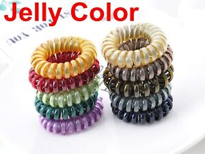 10 Jelly Tone Spiral Coil Elastic Hair Scrunchies Telephone Cord 40mm Ponytail