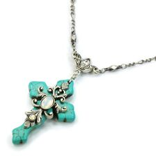 NEW SWEET ROMANCE CROSS OF CALAIS TURQUOISE NECKLACE