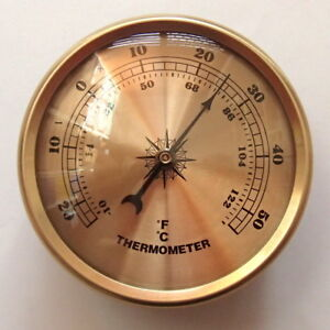 70mm Gold Bezel Thermometer Gold Dial Fit-up/Insert, Weather Instruments