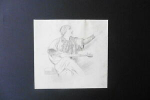 FRENCH SCHOOL 19thC - THE ORIENTAL MUSICIAN - FINE PENCIL DRAWING