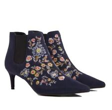 UK 5 1/2 M&S Rrp £35 Women  Boots Kitten Heel Floral Embroidered Ankle Boots