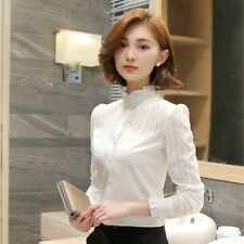 Ladies Lace Ruffle Collar Shirt Pleated Frill Sleeve Slim Blouse Victorian White
