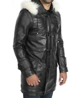 Men's real cow leather hooded duffle coat handmade 3/4 black leather jacket
