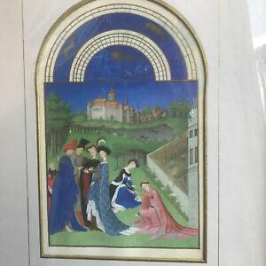 Old Antique Medieval Astrology Figure Castle Scene Print, Gold Decoration Gothic