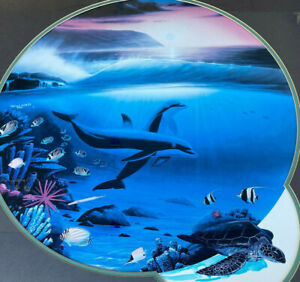 """Wyland Artist Proof Dolphin Turtle Handpainted Fish 8/65 LE Framed 35"""" 1990 ???"""