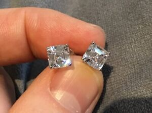 1.0 Carat Diamond Asscher Cut Solitaire Stud Earrings Set With A Platinum Finish