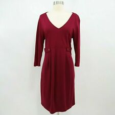 Isabella Oliver Maternity Sheath Dress T4 US10 Stretch Red Burgundy 3/4 Sleeves