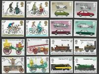 Transport in Britain mnh 4 sets-Cars-Fire Engines-Cycling-Trains