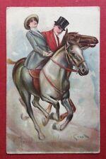 CPA. Illustrateur GRANDE. Couple. Chevaux. Art Déco. Charme. Riding Horses.