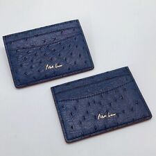 Handmade Ostrich Skin Navy Blue credit card holder/wallet Free Shipping