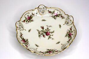 "Rosenthal Moliere Germany Vintage Moosrose Pierced 8"" Bowl Roses Gold Trim 2984"
